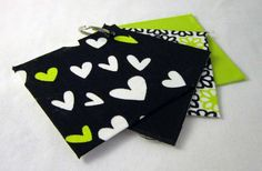 Lime & Black Quilted Tri-Fold Wallet via Etsy