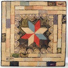 Folk Art Hooked Rug With Star Motif