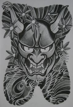 Hannya 4 (Ain't nuthin' but a Hannya babe) Hannya Maske Tattoo, Hannya Tattoo, Mask Tattoo, Japanese Demon Tattoo, Chest And Back Tattoo, Oni Mask, Japan Tattoo, Oriental Tattoo, Samurai Tattoo