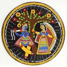 Radha Krishna Under Kadamba Tree - Wall Hanging (Madhubani Folk Art on Hardboard) Madhubani Art, Madhubani Painting, Hanging Paintings, Hanging Wall Art, Silk Painting, Painting On Wood, Animal Drawings, Art Drawings, Indian Folk Art