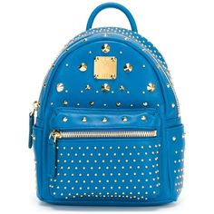 MCM Studded Backpack ($1,080) ❤ liked on Polyvore featuring bags, backpacks, blue, blue backpack, blue bag, day pack backpack, backpack bags and mcm