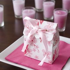 Pink and White Cherry Blossom Scalloped Favor Bag