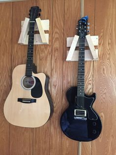 Guitar hangers made from wood by MeraFijicraft on Etsy