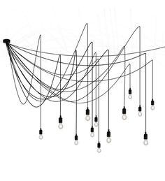 Lampa wisząca Maman dimmable Seletti - czarna, żarówki przezroczyste