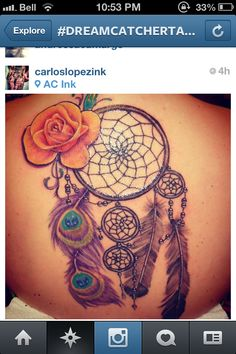 Dream catcher tattoo: diff feathers, yellow rose!