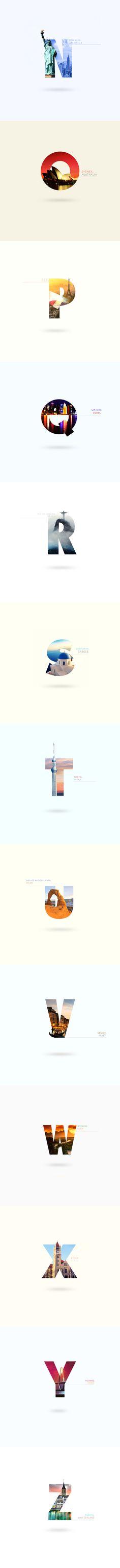 城市旅遊風景字型設計