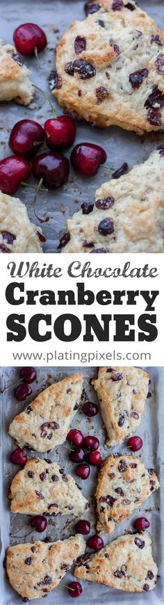 White Chocolate Cranberry Scones recipe baked with cherry yogurt by Plating Pixels. Moist, flaky scones. White chocolate and cranberry add sweet texture to perfect scones. - Mother's Day brunch recipe - www.platingpixels.com