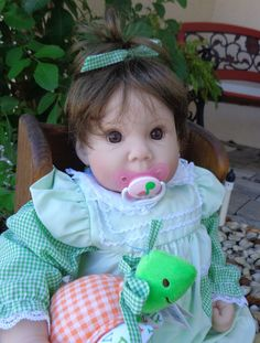 """Lightly Reborn Lee Middleton Doll """"Cutie Pie"""" by Reva Schick - now with magnetic pacifier and """"Tootsie Turtle"""" - only $129 for doll, turtle, Middleton box, Middleton birth/adoption certificates - at http://kinderlanddolls.net/Cutie_Pie_Middleton.html"""