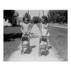 Maybe have old photos of little girls like this placed in different areas. This is a classic picture of bygone days in America. The picture was taken in 1941 in Caldwell Idaho, and shows two little girls taking their dolls for a walk in baby strollers. Vintage Children Photos, Vintage Girls, Vintage Pictures, Old Pictures, Vintage Toys, Old Photos, Girl Photos, Baby Kind, The Good Old Days