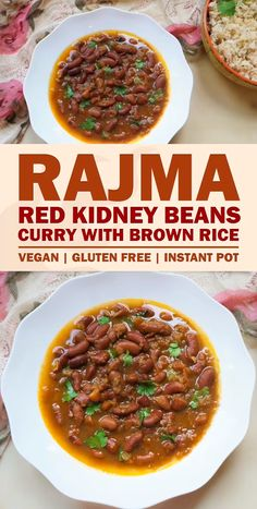 Pot Rajma (Red Beans Curry) Instant Pot Rajma Masala with pot-in-pot Brown Rice. This Red Kidney Beans Curry with Rice is the best comfort food Veg Recipes, Curry Recipes, Indian Food Recipes, Vegetarian Recipes, Cooking Recipes, Healthy Recipes, Ethiopian Food Recipes, Kerala Recipes, Beans Recipes