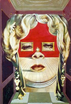 """peinture espagnole : Salvador Dalí, 1935, """"portrait de Mae West"""", (appartement surréaliste), 1930s"""
