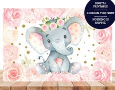 Pink Elephant Girl Baby Shower Birthday Party Backdrop Pink Watercolor Floral Baby Shower Banner Can