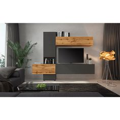 Obývacia stena Bristol, dub wotan/lava hnedá super mat | temponabytok.sk Floating Nightstand, Floating Shelves, Entertainment Wall Units, Small Living Rooms, Bristol, Tall Cabinet Storage, Bookcase, Sweet Home, Table