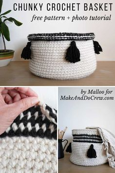 Large, easy crochet basket free pattern and tutorial. This chunky basket is vers… Large, easy crochet basket free pattern and tutorial. This chunky basket is. Crochet Deer, Chunky Crochet, Easy Crochet, Crochet Flowers, Free Crochet, Doilies Crochet, Crochet Shawl, Knit Crochet, Crochet Basket Tutorial