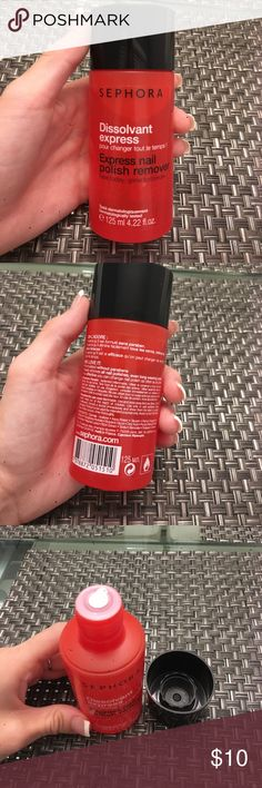 Sephora express nail polish remover Sephora dissolvent express nail polish remover. Brand new, never used and still sealed! Willing to bundle all items and all items come with a free sample! Sephora Makeup Brushes & Tools