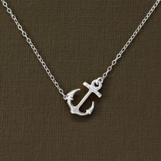 Sideways Silver Anchor Necklace  Sterling Silver Chain by NinaKuna