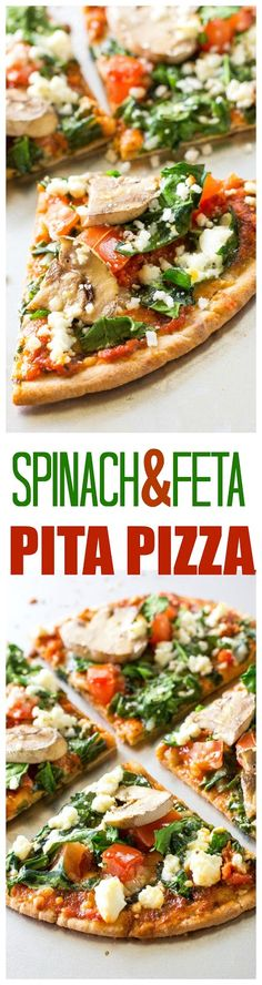 Spinach and Feta Pita Pizzas - a great appetizer or even filling enough for a meal. Only 350 calories per pizza.. the-girl-who-ate-everything.com
