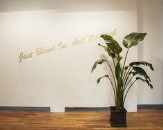 Just Blend In, Act Natural 10 foot wall text, plant dimensions vary Gold Vinyl Lettering White Bird Of Paradise Ben Barber