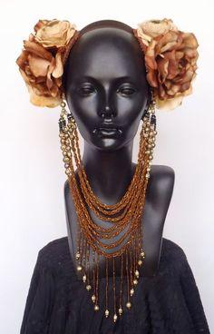 Brown & Ivory Flower Headpiece by MissGDesignsShop on Etsy, $170.00