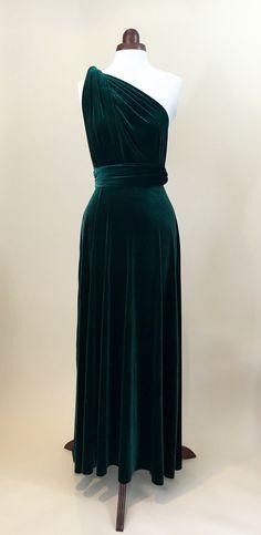 Green velvet dress infinity dress bridesmaid dress by Valdenize