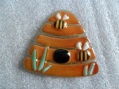 """fused glass """" BEEHIVE and BEES"""" handmade decorative tile for mosaic, art glass. £5.50, via Etsy."""