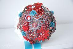 Bukieteria - red & turquoise bouquet