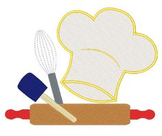Chefs Kitchen Embroidery Design Hat Design Filled stitch 4X4