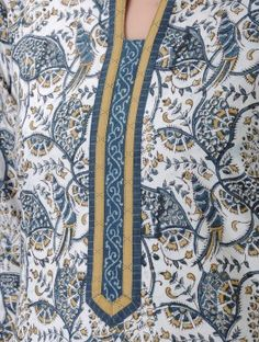 Ivory-Blue Kalamkari-printed Mandarin Collar Cotton Kurta Chudidhar Neck Designs, Neck Designs For Suits, Neckline Designs, Dress Neck Designs, Blouse Designs, Salwar Neck Patterns, Salwar Neck Designs, Kurta Neck Design, Kurta Designs Women