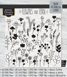 Drawing Flowers Black And White Hand Drawn Hand Drawn Arrows, Tribal Symbols, Flower Outline, Illustrator Cs5, Drawing Frames, Garden Illustration, Plant Vector, Outline Drawings, Black Silhouette