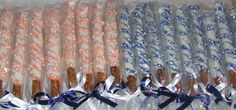 Custom Coral/Peach and Royal/Navy Blue Pretzel rods with Crystals and Little White Pearls  Visit Marie Grahams on Etsy.com