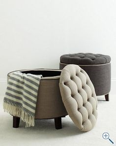 Love these round tufted ottomans