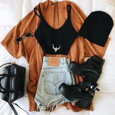 Hipster Outfits, Teen Fashion Outfits, Retro Outfits, Cute Casual Outfits, Ootd Fashion, Outfits For Teens, Stylish Outfits, Summer Outfits, Girl Outfits