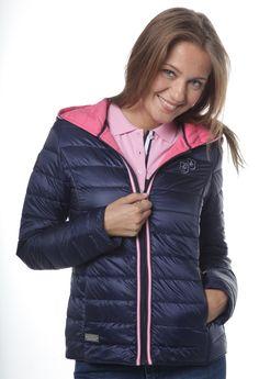 Tienda online | Moda mujer y hombre |  Abrigo acolchado en color azul marino con detalles en rosa de Valecuatro Tienda online | Moda mujer y hombre |