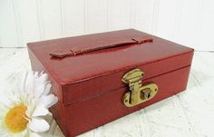 Vintage Brick Red Textured Jewelry Box  Retro by DivineOrders, $13.00
