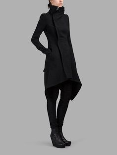 RICK OWENS WOMEN'S BLACK OBLIQUE BIKER COAT - RICK OWENS BLACK OBLIQUE BIKER COAT - BLACK - HIGH NECK - ASYMMETRIC ZIP CLOSURE - SIDE POCKETS - ASYMMETRIC CUT - 70% VIRGIN WOOL - 30% NYLON - BODY LINING: 100% COTTON - SHOULDER LINING: 53% VISCOSE, 47% CUPRO - SLEEVE LINING: 100% VISCOSE - RIB SLEEVE PANELS: 100% VIRGIN WOOL - MADE IN ITALY