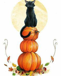 Black Cat with three orange pumpkins of Halloween