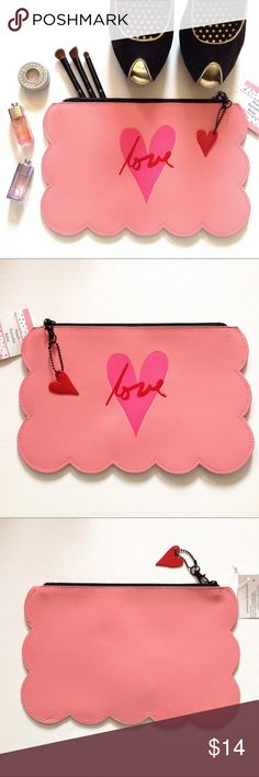 """🆕 ❤️ """"Love"""" Pouch NWT. Super cute faux leather pouch! Scalloped edging with detachable heart fob. """"Love"""" text on front. White and black striped lining. Bags"""