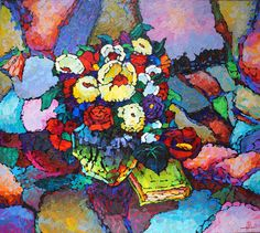 2015 FLOWERS WITH THE BOOK, Valery Veselovsky (b1964, Moscow Russia)
