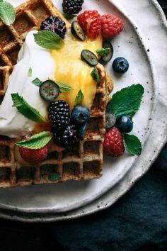 Vanilla Buckwheat Waffles with Lemon Curd, Fresh Berries & Mint  |  Gather & Feast