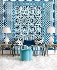 hang fabric on wall with starch | Using textiles can add a whole new dimension to a room, adding more ...