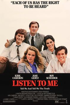 "Film: Listen to Me (1989) Year poster printed: 1989 Country: USA Size: 27"" x 40"" This is a vintage, unfolded, one-sheet movie poster from 1989 for Listen to Me starring Kirk Cameron, Roy Scheider, Jam"