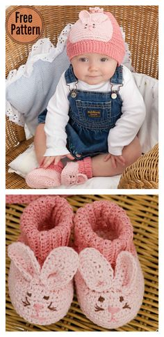 Cute Bunny Baby Hat and Booties Free Crochet Pattern #babycrochet #freecrochetpatterns #easterbunny