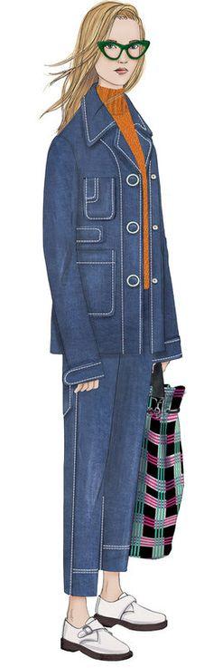 AH17 - Veste carrée et jean raccourci en denim avec des details surpiqués comme gommés. Le volume est fitté et comprend des maxi-poches - PeclersParis -Wallpaper Club - Tendance prêt à porter- AH 2017-18 - Tendances (#622920)