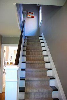basement stairs- black stop, white bottom - Modern Cozy Basement, Basement House, Basement Plans, Basement Stairs, Basement Bedrooms, Basement Renovations, Basement Ideas, Hallway Ideas, New Staircase