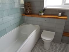 New bathroom decor ft. Attingham Seagrass Geometric tiles and accessories from Cozy Bathroom, Family Bathroom, Bathroom Layout, Bathroom Interior, Small Bathroom, Bathroom Ideas, Green Bathrooms, Bathroom Makeovers, Ceramic Tile Bathrooms
