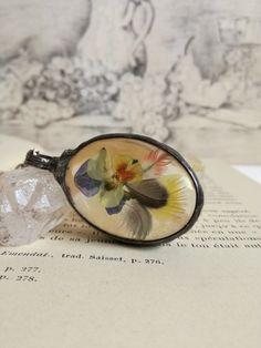 Pendants – Necklace, Pendant, pansy flower, parrot feathers – a unique product…