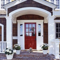 Here we go a red front door! I love double doors too!~~White trim and a red front door. Front Door Design, Front Door Colors, Exterior Doors, Entry Doors, Entryway, Front Entry, Front Doors, Front Porch, Brick Porch