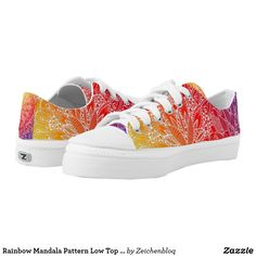 Rainbow Mandala Pattern Low Top Sneakers #ZeichenbloQ #zazzle #sneakers #shoes #accessories #clothing #apparel #mandalas #patterns #abstract #art