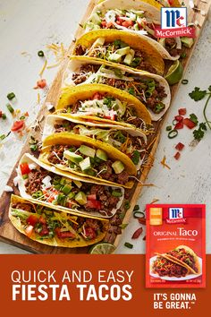 Tacos made with McCormick® Original Taco Seasoning are a family favorite for a busy weeknight dinner or for casual weekend entertaining. Choose typical toppings or try chopped avocado, sour cream, or chopped fresh cilantro. Mexican Food Recipes, Beef Recipes, Chicken Recipes, Dinner Recipes, Cooking Recipes, Healthy Recipes, Healthy Meals, Avocado, Good Food