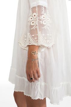 Spell & The Gypsy Collective | love the boho lace bell sleeves--not the pajama look-a-like dress